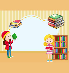 Border template with girls reading book vector