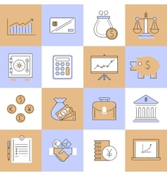 Finance icons set flat line vector image