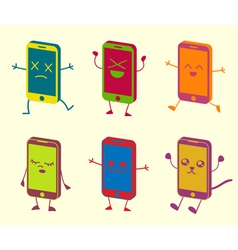 Happy Cute Kawaii Smart Phone Characters vector image