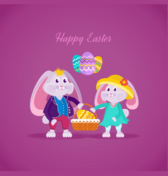 Lovely beautiful rabbits holding basket with egg vector