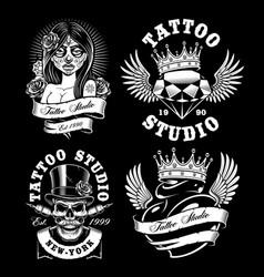 set of tattoo design on dark background vector image vector image
