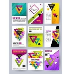Set of triangle cards Triangle pattern Triangle vector image vector image