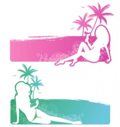 set summer girls vector image vector image