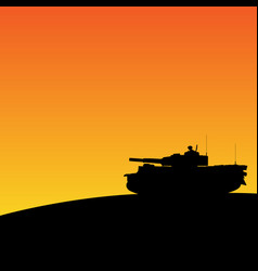 silhouette of tank in sunset vector image vector image
