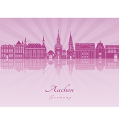 Aachen skyline in purple radiant orchid vector image