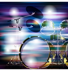 Abstract blue white music background with drum kit vector