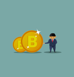Asian business man holding bitcoins coins vector