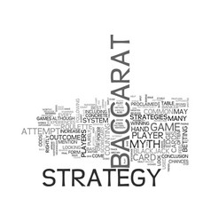 Baccarat strategy myth or possibility text word vector