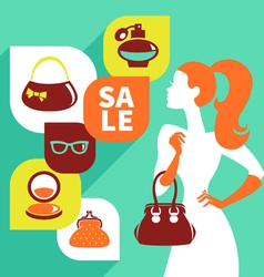 Beautiful woman silhouette with shopping icons vector