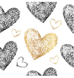 Black gold hearts seamless patter vector