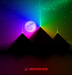 blue red and green night desert landscape vector image