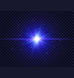 blue star burst with beams and sparkles on vector image