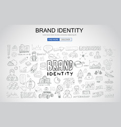 Brand identity concept with business doodle vector