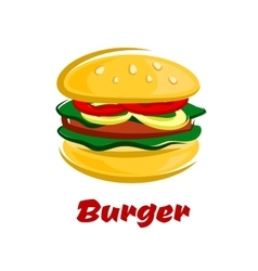 Burger with meat fresh vegetables on bun vector