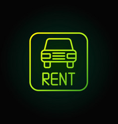 Car rental green icon vector