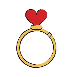 cartoon romance rings love heart wedding symbol vector image