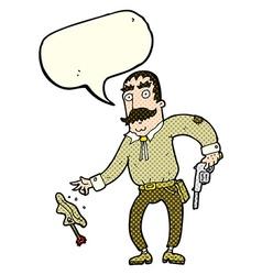Cartoon wild west cowboy with speech bubble vector