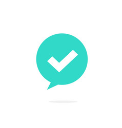 Checkmark on bubble speech icon flat vector