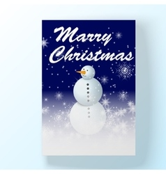 Chrismas holyday card with snowman in winter night vector