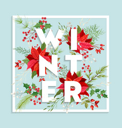 Christmas winter floral card poinsettia vector