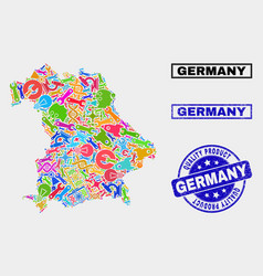 Collage industrial germany map and quality vector