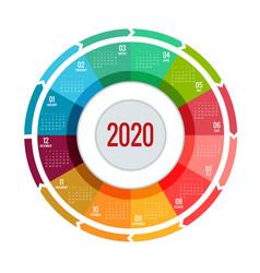 Colorful round calendar 2020 design print vector