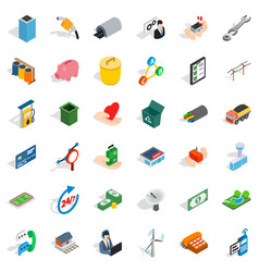 Commercial relationship icons set isometric style vector