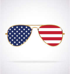 cool gold rim aviator sunglasses with usa flag vector image