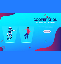 cooperation robot and human ai artificial vector image