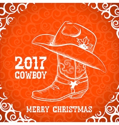 Cowboy merry christmas greeting card with cowboy vector image
