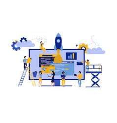 creative teamwork business pc computer office vector image