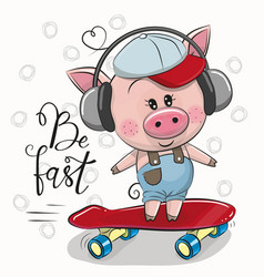 cute pig with a blue and red cap vector image