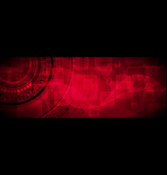 Dark red technology banner design vector