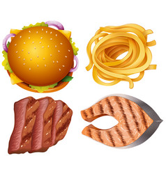 different types of food on white background vector image