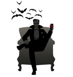 Elegant silhouette of man sitting in an armchair vector