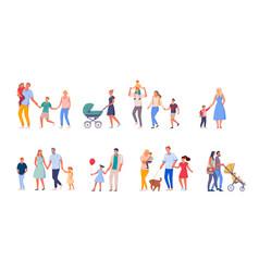 family on walk set isolated on white background vector image