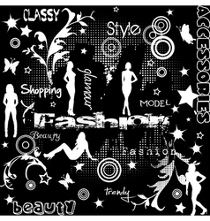 Fashion concept with women silhouettes vector image