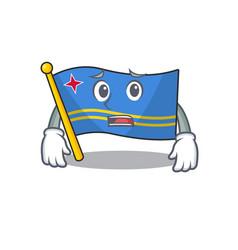 Flag aruba smiling in with cartoon afraid vector
