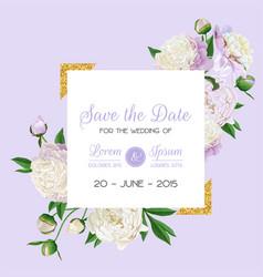Floral wedding invitation white peonies flowers vector