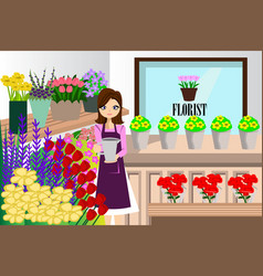 Florist working with bunch different flowers vector