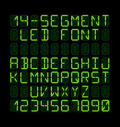 Fourteen segment led display letters and numerals vector