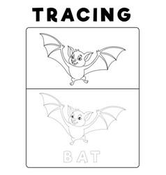 Funny bat tracing book with example preschool vector