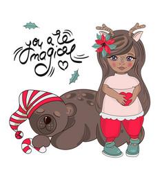 Girl bear merry christmas color vector