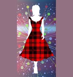 girl in tartan vector image