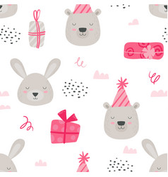 girl pink colored woodland paper or fabric design vector image