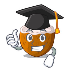 graduation cartoon delicious ripe coconuts for vector image