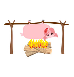 Grilled pig meat on spit roasting pork bbq piglet vector