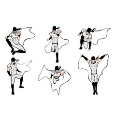 Hand drawn superhero models in various poses vector