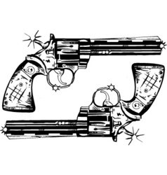 Hand guns vector
