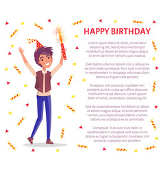 Happy birthday invitation card man with firework vector